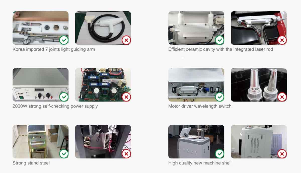 Q switch Nd Yag Laser Skin Care Machine compare